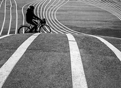 Urban Lines (Peter Bros Nissen) Tags: street city urban bw white black bike by photoshop canon copenhagen spring gray powershot line elements cycle april cph sh nrrebro sort kbenhavn hvid s90 cykel lightroom silhuette gr forr kbh linje silhuet 2013 superkilen