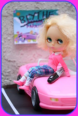 Blythe A Day ~ April 2013 ~ Day 8:  CAR (Heidi @ Blythe Fifth Avenue) Tags: sharpie busted mrm parkingspace pinkconvertible saffyscalp vintagebarbiefashions yardleyyoplait blytheadayapril2013 blytheadayapril8 day8car barbieparkingnomore
