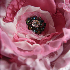 brooch (the incredible how (intermitten.t)) Tags: pink flower green rose brooch peony polyester diamente 14357 madethismorning tomatchmeisensilkscarf vintagekimonomeisensilk