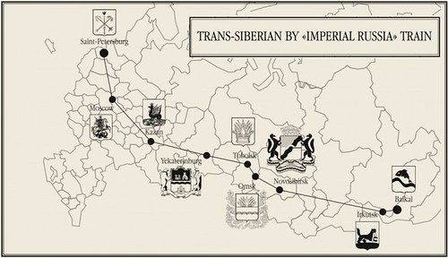 Map of the Imperial Russia Train route