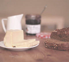 Good Morning (Faisal | Photography) Tags: wood morning white glass cheese bread eos milk strawberry soft dof bokeh good 14 usm jam 50 goodmorning tones ef ef50mmf14usm 50d canoneos50d faisal|photography فيصلالعلي