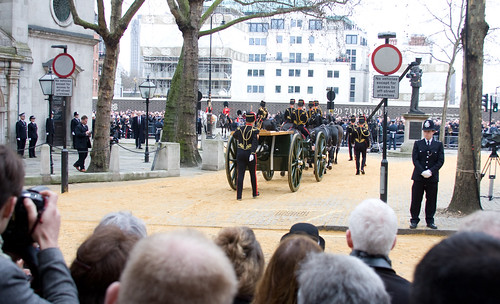 Arrival of horse drawn gun carriage, Baroness Margaret Thatcher funeral #1