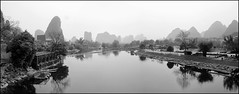 Yulong River (Ben Varley) Tags: china blackandwhite bw reflections river yulong guilin yangshuo guangxi guanxi karsts yulongriver