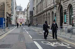 107/365 - Coppers on every corner... (Spannarama) Tags: road street uk people london walking empty flags funeral pedestrians april 365 barriers kingstreet thatcher policemen guildhall 2013