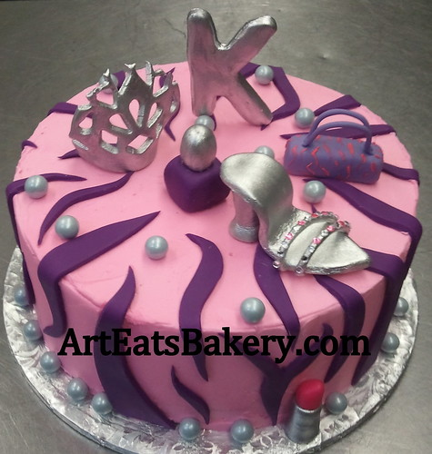 Girls Custom Unique Pink And Purple Zebra Stripe Birthday Cake With Silver Shoe Handbag