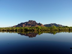 Red Mountain Reflection (bulldog008) Tags: morning blue red arizona sky mountain reflection nature water forest river landscape outdoors mirror site day desert salt bank clear national shore area granite recreation reef sonoran tonto mesa mcdowell refelect
