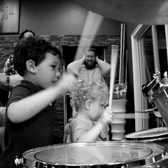 IMG_8328 (heatherbirdtx) Tags: party music house playing motion blur boys set kids composition children drums drum cousins smiles ears beat kit toddlers adults cymbals trap drumsticks covering