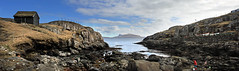 Panorama from Hvtanes (Jgvan Horn) Tags: ocean sea house green grass rock island coast cliffs atlantic shore faroeislands trshavn froyar nlsoy streymoy hvtanes fjra