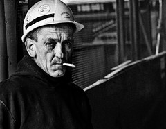 Hard hat (proof_by_contradiction) Tags: street nyc portrait newyork man construction fav50 smoking worker fav25 fav75