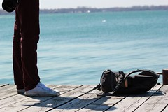 (Melissa Godbout) Tags: sun toronto harbor dock legs backpack portlands