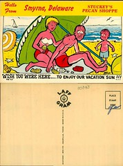 Hello from Smyrna Delaware, Stuckey's Pecan Shop (Delaware Public Archives) Tags: woman man beach water umbrella kid child sunburn lotion oceansun