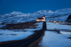 The Lonely Church at Blue Hour (TheFella) Tags: road travel blue winter sky mountain snow mountains slr tower church digital photoshop buildings landscape lights photo iceland nikon europe european dusk path glacier arctic photograph blended processing nordic bluehour dslr volcanic sland snfellsnes d800 blending icelandic glacial postprocessing travelphotography westiceland snfellsnespeninsula thefella conormacneill thefellaphotography
