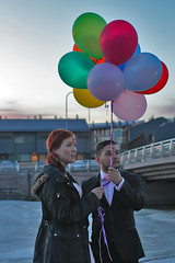 Releasing the balloons (cielo senza stelle) Tags: love beautiful balloons evening engagement couple release joy free marriage happiness nepalese finnish