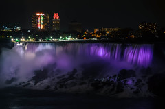 niagara falls at night {explored!} (allison selby) Tags: longexposure travel newyork canada color water colors skyline night landscape lights niagarafalls waterfall spring rainbow nikon nightscape purple earth nightsky