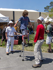 Learning to Walk on Stilts at Maker Faire (donjd2) Tags: california unitedstates stilts sanmateo makerfaire