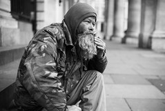 Francis (Gavin Mills Photography) Tags: street leica portrait people blackandwhite bw white black london 35mm garden beard homeless camo chilling covent camouflage coventgarden rough smoker hobo glance asph tramp sleeper chilled m9 greyhaired summilix