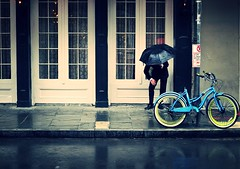 (RickAbbott) Tags: blue rain bike neworleans frenchquarter