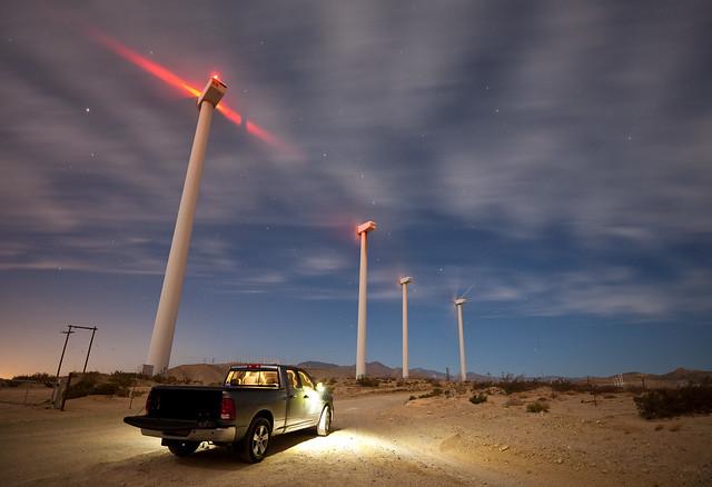 night truck offroad wind pass windmills dodge ram mills turbine windfarm turbines sangorgonio