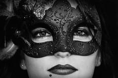 Mask (Oriol Colls) Tags: bw sexy night nose eyes mask wide lips piercing bn carnivale lipstick brunette cabaret attraction shut pircing hipnotize vodevil