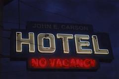 John E. Carson Hotel (Nick Leonard) Tags: city vegas red white film night 35mm hotel evening olympusstylusepic downtown neon fuji lasvegas no nevada nick motel 200asa olympus scan 35mmfilm fujifilm neonsign vacancy epson4490 colorprintfilm nickleonard johnecarson memoriesbrandfilm vision:night=080