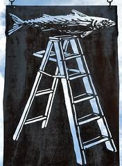 Fish Ladder (Seeing Visions) Tags: fish sign metal mi us rust unitedstates cut michigan lansing oxidation hanging ladder oldtown 2014 fishladdertattoo raymondfujioka
