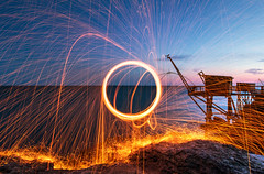 Fire ball - Light Painting - Pornic France (On Explore 07/27/2016) (Mathieu Pierre) Tags: canon eos 7d mark grip bge16 remote rs60e3 1635 ii usm mm l is manfrotto 694cx monopode tripod tma28a benro head ball b0 vanguard bag skyborne 45 pornic nantes fire light painting explore explored canonfrance