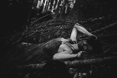 Minyala - Savage (Accalmia) Tags: portrait people woman white black strange beauty mystery forest dark grey darkness odd sombre mysterious melancholy sensuality blackandwhte mlancolie