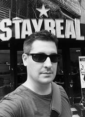 Stay Real (bluetrayne) Tags: selfportrait selfie blackandwhitephotography humor humorous ironic portrait sunglasses monochrome monochromeportrait blackandwhite