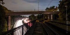 Layers (rabe-pix) Tags: deutschland germany ruhrgebiet nacht night kunstlicht hdr hdri dri fujifilm xpro2 zeiss touit 1228 strase street gleise bahn rails railway brcke brcken bridge bridges