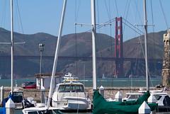 On a fine day (Michael Dunn~!) Tags: boat bridge goldengatebridge marinadistrict photowalking photowalking20130414 sailboat sanfrancisco suspensionbridge water
