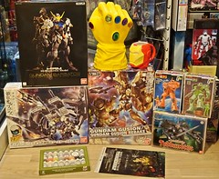 Recent Arrivals  Bandai Gundam Kits and Others  20 Aug 2016 (My Toy Museum) Tags: recent arrival arrivals bandai gundam barbatos long range transport booster gusion rebake dunbine tod zaku vallejo paint marvel infinity gauntlet iron man face mug