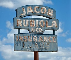 Jacob Rubiola & Co. (Rob Sneed) Tags: usa texas sanantonio jacobrubiolaco insurance loans sign neon vintage americana texana retro alamocity advertising cityofsanantonio bexarcounty