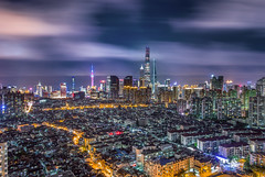 Nightscape of Shanghai City (HIKARU Pan) Tags: 1dx 24l asia canonef24mmf14liiusm china chinese eos1dx longexposure photography shanghai wideangle aerialview architecture building city cityscape downtown horizontal landmark landscape night nightscape outdoors skyline skyscraper urban