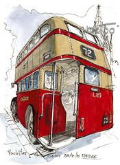 Manchester, vintage coach (Croctoo) Tags: manchester croctoo croquis croctoofr coach vintage bus water aquarelle