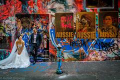 laneway couple (Gerald Visperas) Tags: wedding melbourne hosierlane hosier lane graffiti couple aussie multicultural peter drew street art