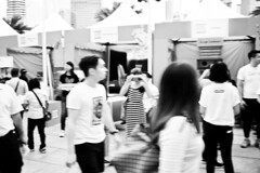 (yangkuo) Tags: goggles cyclops blur walking google cardboard vr curiousity snapshot 15mm f8 lenscap bw mono science festival