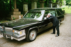 Think about the future..... (deepstoat) Tags: contaxt3 film 35mm kodakportra400 crowdfunding hearse death black manyformerowners cemetery london nunhead