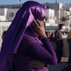 purple lady (Jan Herremans) Tags: 2010 janherremans morroco agadircandid lady purple hijab