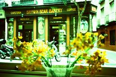 Brown Bear Bakery (srgpicker) Tags: 35mm agfa agfaphoto bakery crossprocessed ct film iso100 madrid mjuii olympus orange precisa xpro xprocess mjuii centrofuji cafeteria coffee coffeeshop flowers flores panaderia pasteleria