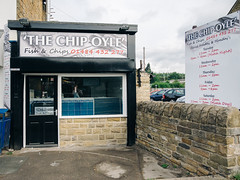 The Chip Oyle (Peter.Bartlett) Tags: vsco olympusomdem1 fastfood shopfront window kodakportra400emulation facade urbanarte weeds westyorkshire door wall lunaphoto litterbin urban unitedkingdom sign uk m43 microfourthirds shopwindow cafe peterbartlett huddersfield kirklees car city england gb fishandchips