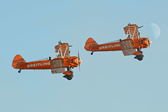 Breitling Wingwalker grab the moon (Jaapio) Tags: sanicole airshow sunset show aviation aircraft airplane moon crosser mooncros mooncrossing breitling wing walker walkers team display stunt
