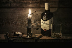 For men. (Tomasz Aulich) Tags: whisky ballantines cigar candle candlestick glass book box matches fire stilllife rust wood vintage bottle light oldschool nikon nikkor poland old indoor black shadows drink alcohol red green blue yellow