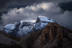 Giants (Radisa Zivkovic) Tags: mountain cloud dramatic snow travel dolomites italy alps tyrol rock peak autumn range light sky sunset highland cold wilderness vastness landscape nature scenery outdoor red blue beautiful high moody environment