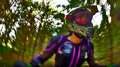 Dirtbike grrrrl (bardo333) Tags: dirtbike motorcycle pov fisheye alpinestars saturation agv ride helmet wideangle woods goggles