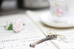 The key (eleni m) Tags: key sheetmusic bladmuziek sleutel flower bloem rose roos cup kopje saucer schoteltje outdoor buiten gardentable tuintafel dof pastel rope stilllife