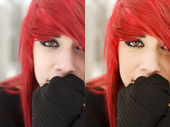 Before and After - Winter Edit (The BenMiller) Tags: editing example before after b4 photoshop cs4 adobe detail red hair redhead eyes sweater winter snow snowflake nikon d200