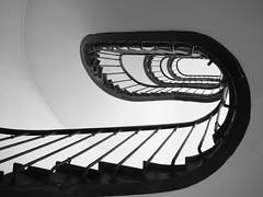 Escaliers (Marc Fievet) Tags: colimaon escalier spirales spirale paris france architecture curiosit tourisme olympusomd5mkii olympus photographebelge intrieur noiretblanc noir blanc galerie immeubleappartement immeuble appartement immeubles