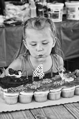 Brinley (sarahkathleendavis) Tags: summer outdoors outside 2016 blackandwhite girl child birthday candle cupackes wish
