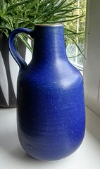 Carl Fischer, Bürgel - Handthrown Blue Jug (214) (Ahornblatt2012) Tags: egp studio keramik gdr ddr vintage vase retro artpottery blue bürgel coswig veb carl fischer handthrown