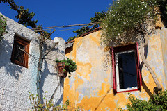 neighbours (Katrinitsa) Tags:  anafiotika athens greece plaka architecture cityscape city neighbourhood colors morning sunlight canon traditional street streetphotography streets streetview cityview plants garden yard pots yellow sky skyblue trees wall walls rooftops roof windows neighbours aside opposed opposite flowers nature ef35mmf14lusm red jasmine